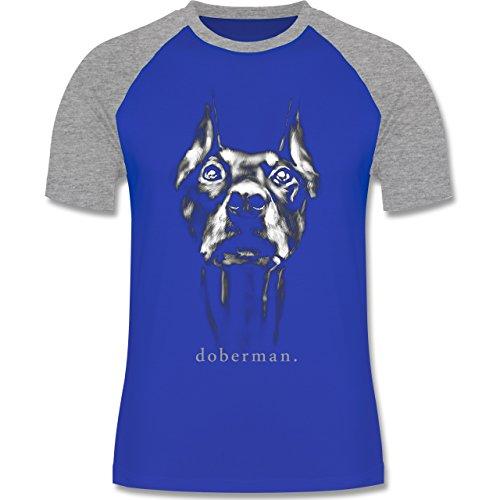 Shirtracer Hunde - Doberman - Herren Baseball Shirt Royalblau/Grau meliert