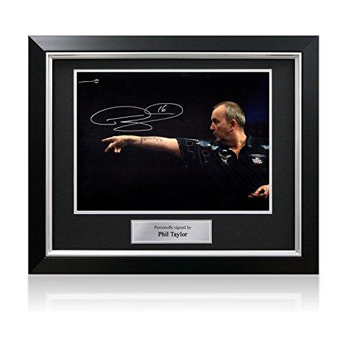 Phil Taylor Unterzeichnung Darts Foto: das Gefühl der Macht. Im Deluxe-Schwarz-Rahmen mit Silber Inlay (Deluxe Champions Rahmen)