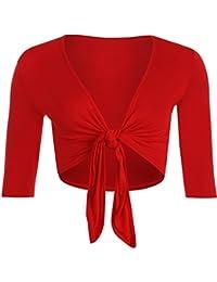 WearAll - Boléro à manches mi-longues avec un noeud - Cardigans - Femmes - Grandes tailles 40 à 54