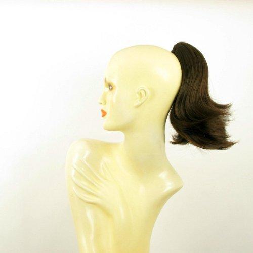 Postiche queue de cheval extension femme chocolat méché cuivré courte 28 cm ref 9 en 6h30