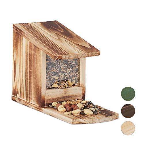 Relaxdays Eichhörnchen Futterhaus, Futterkasten für Eichhörnchen, zum Aufstellen, Holz, HBT: 17,5 x 12 x 25 cm, geflammt