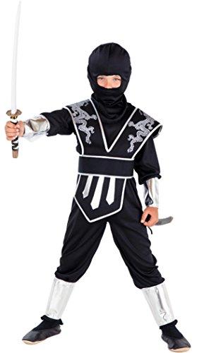 Magicoo Dragon Ninja Kostüm Kinder Silber-schwarz - Kinder Ninja Kostüm Jungen schwarz Silber (110/116)