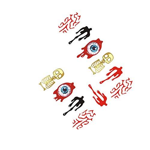 fish Wasserzeichen Nail Sticker Tatoos Halloween Bunte Augen-Schädel-Element Nail Wraps DIY Maniküre-Aufkleber