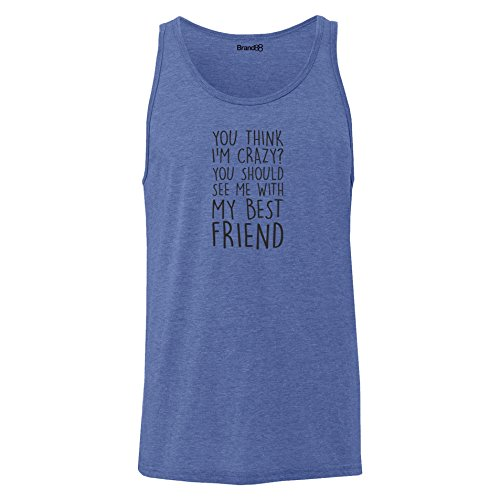 Brand88 - You Should See Me With My Best Friend, Unisex Jersey Weste Blau Meliert
