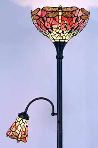Cheap Tiffany Style Floor Uplighter with Reading lamp Discount