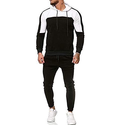 Herren Herbst Sweatshirt Tops Hosen Sets Sportanzug Patchwork Trainingsanzug Bluse(Schwarz,XL)