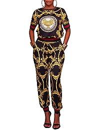 Akmipoem da Donna Due Pezzi Stampa Digitale Pullover Felpe e Pantaloni da Tuta