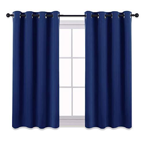 PONY DANCE Kinder Vorhang Schlafzimmer - Kurze Gardinen Blickdicht Vorhang Blickdicht Thermo Gardinen Wärmeisolierend Ösenschal, 2er Set H 137 x B 132 cm, Blau