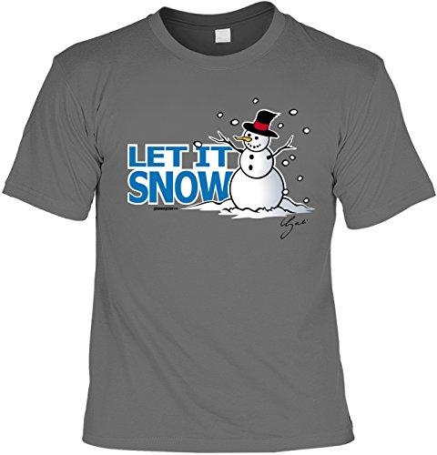 T-Shirt - Let it Snow lustiger Schneemann Shirt Farbe anthrazit - Weihnachtsshirt als Outfit für die Festtage Grau