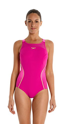 Speedo Fit Xback Pinnacle-Bañador para mujer, color Rosa Magenta/Rose Fluo/Or Global, talla XXXS...