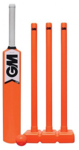 Gunn & Moore orange Icon Allwetter Cricket Bat Ball & Halblange Kunststoff Set-Größe 6