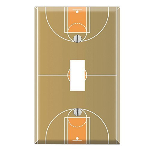 Light Switch Wall Plate (Decorative Single Toggle Light Switch Wall Plate Cover - Basketball Court by DecalSkin)