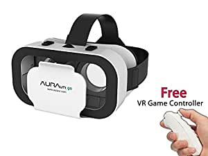 AuraVR Light Weight Virtual Reality Headset with 42 MM Adjustable VR Glasses and Inbuilt Clicker Button for Smartphone upto 5.5 inches