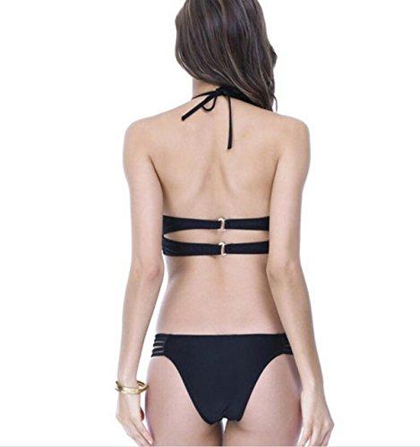 Frau Split Badeanzug Bikini Massiven Quer Schnürung Black