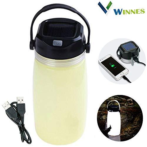 Winnes Solar Campinglampe, Multifunktions Solar Power Water Cup Licht LED USB wiederaufladbare Camping Licht wasserdicht Wasserkocher Licht für Wandern, Camping, Beleuchtung (rot)