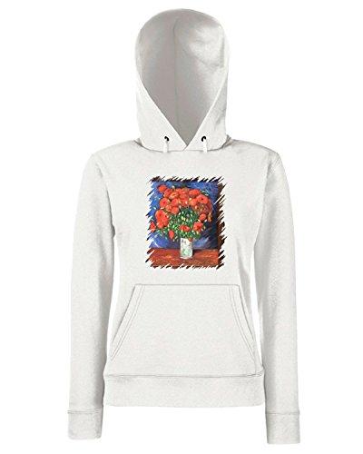 T-Shirtshock - Sweats a capuche Femme TDA0109 van gogh84 vaso con papaveri rossi Blanc