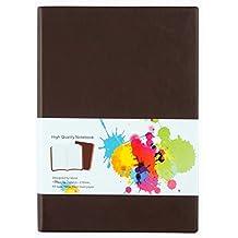 Labon's A4/A5/A6 Journale Notizbuch PU Leder Broschiert Liniert Tagebuch Hochwertige Dicke Papier Farbige Kanten (A5, Braun)