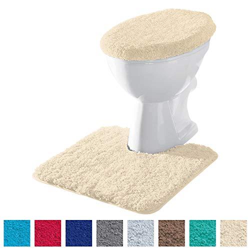 Erwin Müller Stand-WC-Set 2-TLG. Uni, WC-Umrandung, WC-Deckelbezug rutschhemmend Natur - ultraweich, extrem saugfähig, flusenarm (weitere Farben)