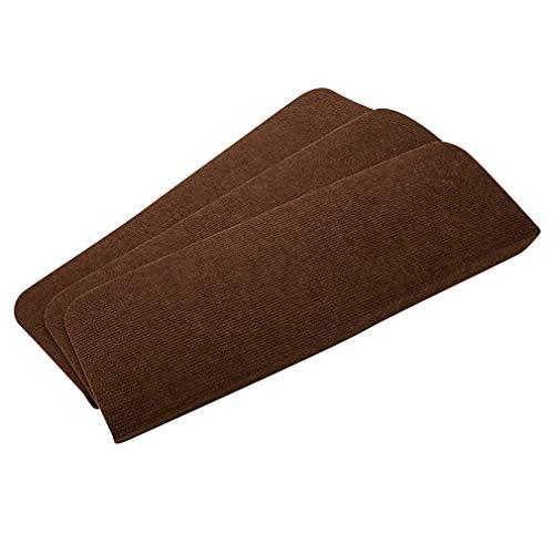 LMXJB 13Pcs Superfeine Faser Treppenstufen-Pad Selbstklebend Rutschfest Starke Abnutzung Kinder Teppich KüChenteppiche Zum Bar Café Polster Boden-Aufkleber-Teppich,Brown,55×22×4.5cm
