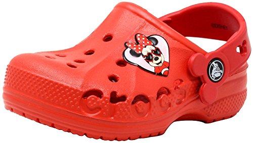 Crocs - baya minnie, zoccoli unisex - kids, rosso (flame), 24 m eu ragazzino
