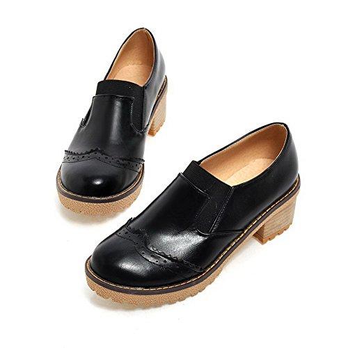 AllhqFashion Femme Rond Tire Pu Cuir à Talon Correct Couleur Unie Chaussures Légeres Noir