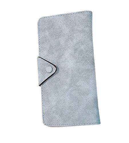 Portafoglio da donna in PU pelle con zip di grande capacità Clutch Pochette con fermaglio Nero Luce Blu