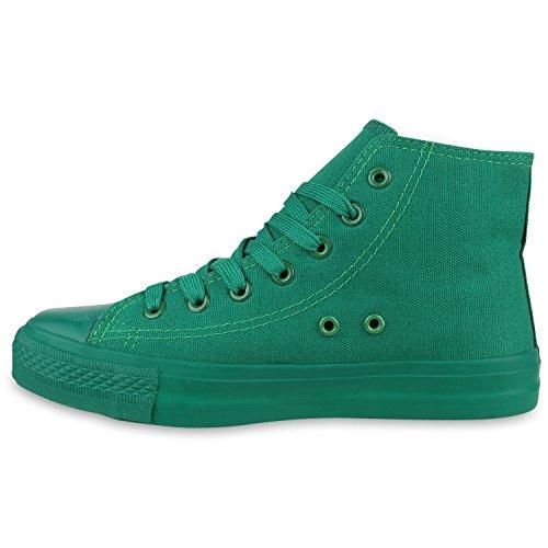 Sportliche Damen Sneakers |Stoffschuhe Camouflage Schnürer | Sneaker High Neon | Sportschuhe All Grün