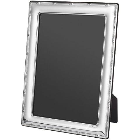 Cornice portafoto, argento Sterling 925, con ornamento sul bordo, in blu confezione, in 5 misure, L- 5 x 3.5 inch photo - 925 Misure In Argento Sterling