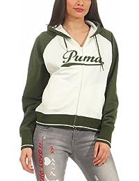 Puma Script Hooded Sweat Hoodie Hoody Damen Sweatjacke weiß-grün Gr 38 M  80030204 1eee1f470c