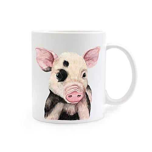 ilka parey wandtattoo-welt Tasse Emaille Becher oder Thermobecher Kaffeebecher mit Ferkel Schweinchen Kaffeebecher Schweinchen-Motiv Geschenk pb016 - ausgewähltes Produkt: *Kaffeetasse*