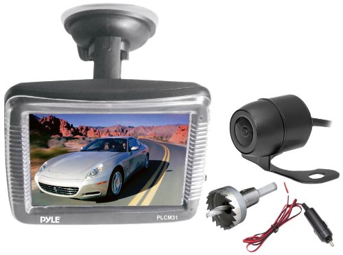 Pyle PLCM31 3.5 inch Slim TFT LCD Window Suction Mount Monitor with Dual Mount Rearview Camera with Night Vision