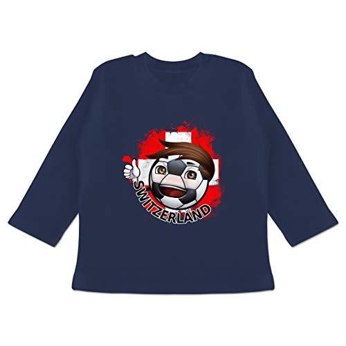 Navy Fußball-maskottchen (Fußball-Europameisterschaft 2020 - Baby - Fußballjunge Schweiz - 6-12 Monate - Navy Blau - BZ11 - Baby T-Shirt Langarm)