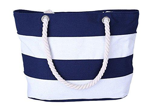 Minetom Donne Grande Spiaggia Borsa Shopper Handbag Classico Striscia Borsa Blu (Edizione Limitata Nautico Stampa)