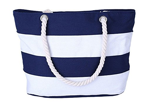Minetom Donne Grande Spiaggia Borsa Shopper Handbag Classico Striscia Borsa