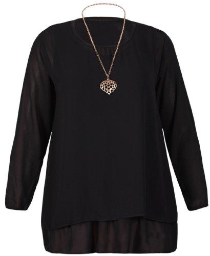 Damen Elastische Ärmelbündchen Langärmlig Damen Chiffon Einfügen Ärmelloses Top Schicht Bluse Herz Anhänger Halskette Top Übergröße Schwarz