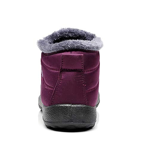 Winter Warm Snow Boots Women Winter Ankle Boots Fur Lining Boots Waterproof Thickening Winter Shoes Slip On Flat Shoes Outdoor Casual Walking Shoes Anti-Slip for Women and Men Size