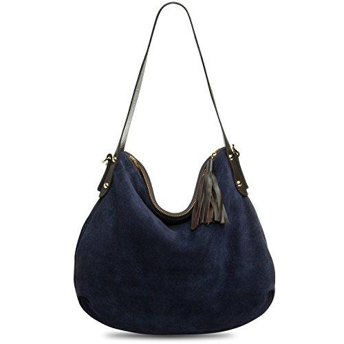 CASPAR TL765 Damen echt Leder Wildleder Tasche Handtasche Schultertasche Hobo Bag, Farbe:dunkelblau;Größe:One Size -