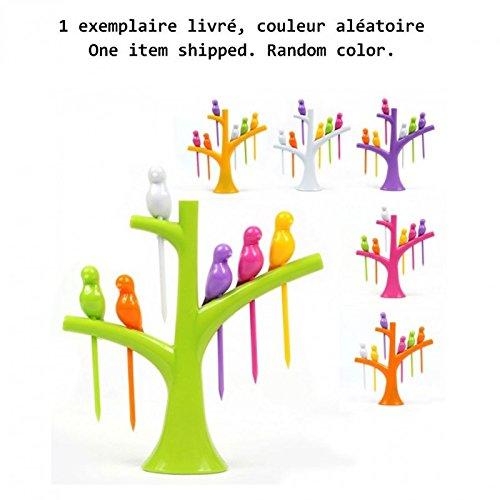 arbre porte pics avec oiseaux vert, jaune, orange, rose, ou violet