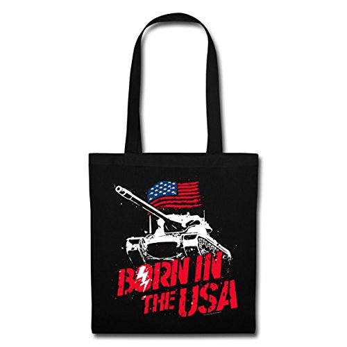 Spreadshirt World Of Tanks Born In The USA Stoffbeutel Schwarz