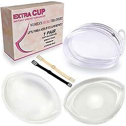 Inserts de soutien-gorge en gel de silicone imperméables - Coussinets d'allaitement Amélioration du buste et raffermissement de la poitrine pour femmes avec sac de rangement (Transparent, Large)