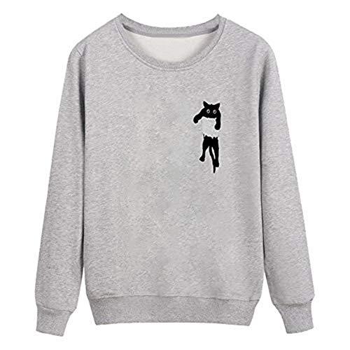 iHENGH Karnevalsaktion Weihnachten Damen Frauen Plus Size Solide Langarm Mit Kapuze Oansatz Cat Print Lose Bluse Tops(L,Grau)