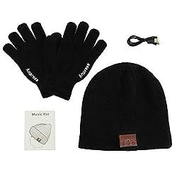 Anpress Bluetooth Hut Mütze,Unisex Bluetooth Mütze mit Touchscreen Handschuhe, Unisex Bluetooth Mütze Winter Warme Hüte Geeignet für Outdoor Sport