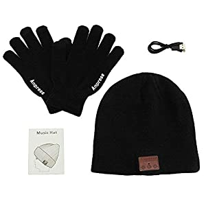 Anpress Bluetooth Beanie Headphones + Touchscreen Gloves,Washable Winter Knitted Wireless Music Headset Hat with Mic Stereo Speaker for Running, Skiing,Skating, for Men Women (Black)
