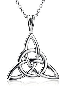 Halskette mit keltischem Glücksknoten als Anhänger, 925 Sterling Silber, Kette 45,7 cm