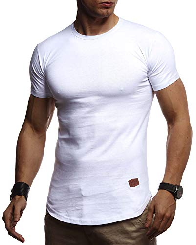Herren Lange Strickjacke (LEIF NELSON Herren Sommer T-Shirt Rundhals Ausschnitt Slim Fit Baumwolle-Anteil | Cooles Basic Männer T-Shirt Crew Neck | Jungen Kurzarmshirt O-Neck Kurzarm Lang | LN8294 Weiß X-Large)