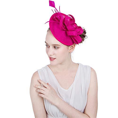 g Big Flower Stirnband Damen Elegant Hairband Cocktail Tea Party Hat Braut Kopfschmuck Blume Für Damen (Farbe : Rose rot) ()