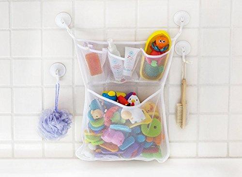 Starsglowing Bolsa de almacenamiento de malla organizador de baño de juguete bolsa de red juguete de baño con dos ventosas (no juguetes)