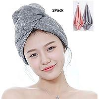 SUNJUN Ultra Absorbent Hair Turban Towel Quick Dry Anti Frizzy Microfiber Design for Women (Pink+Gray)