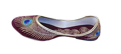 kalra Creations Femme en Cuir traditionnel indien Ballet Flats Bordeaux