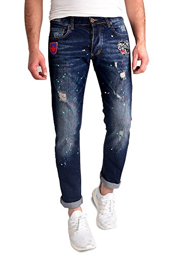 Herren Jeans Hose Destroyed Denim Straight Fit verwasche Denim Jeanshose Skinny Slim-Fit Blau_FKZ-617'